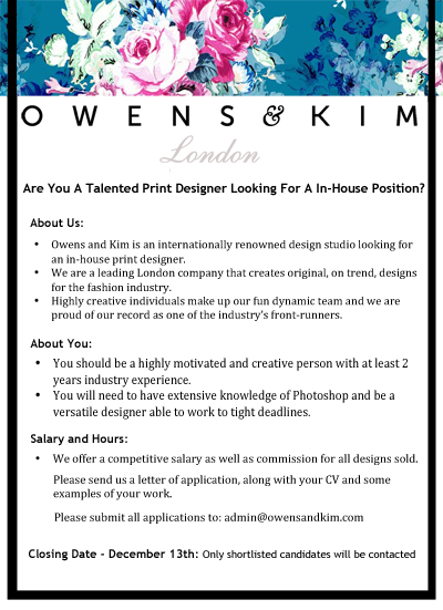 In House Print Designer Vacancy Owens Amp Kim